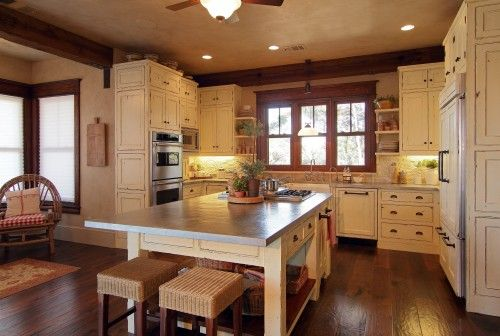 Elegant White Kitchen Cabinets with Oak Trim