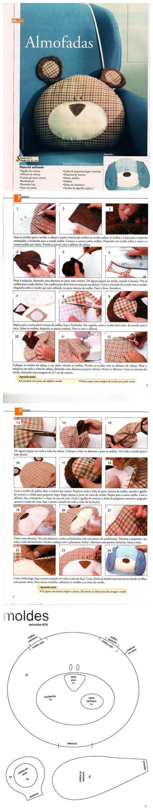 我的手工材料淘宝店铺:http://yubaobeishouzuo.taobao.com小熊 & 小狗抱枕 教程好像是葡萄牙文的,偶也不懂,大家看图说话吧!
