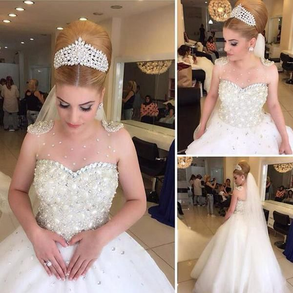 2018 Popular Cheap Luxury Rhinestone Illusion Beaded Tulle Wedding Party Dresses, WD0010