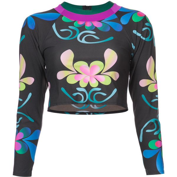 Shop Cynthia Rowley Shock Wave Floral Surf Top in BLACK at Modalist |... ($115) ❤ liked on Polyvore featuring tops, flower print top, floral tops, floral print tops, cynthia rowley and cynthia rowley tops