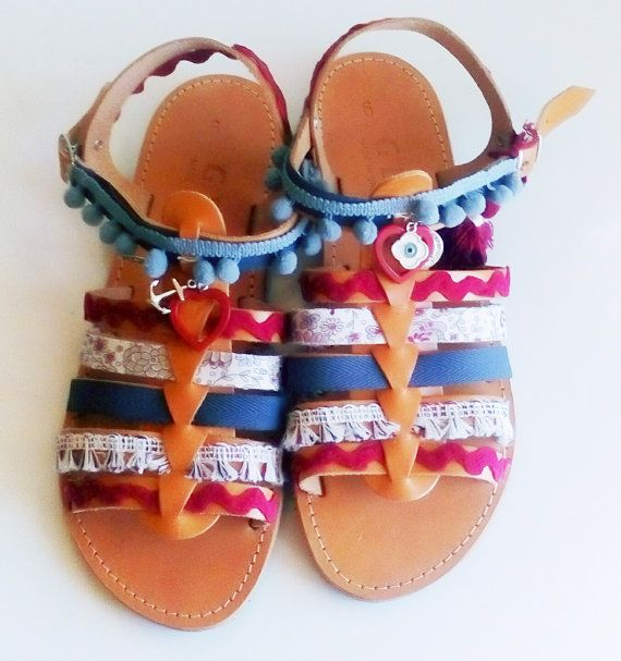 Pom pom sandals, Hippie shoes, Greek sandals, Gladiator sandals, Leather shoes, Gift for her, Beach footwear, Bohemian shoes,Genuine leather