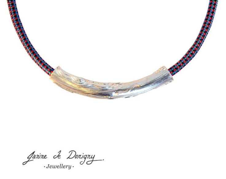 $530. Wood grain inspired necklace. Silver 925, mountain climbing cord, stainless steel clasp http://www.janinededorigny.com/product/wood-grain-neckpiece/
