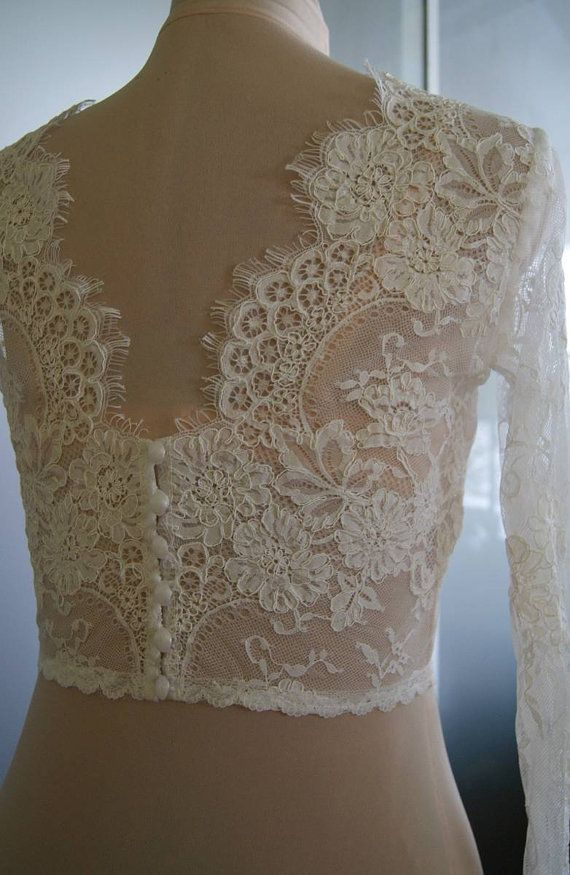 Wedding bolero-top-jacket of lacealencon sleeves  . Unique