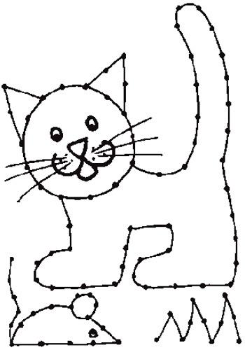 KleuterDigitaal - wb borduurkaart kat en muis