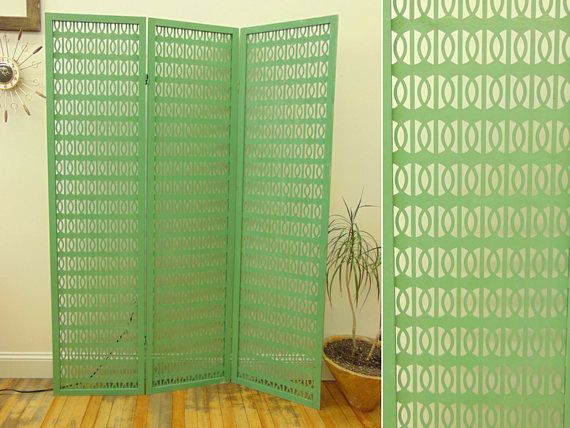 Vintage MCM Folding Room Divider, 3 Panel Screen, Light Green Geometric Cut Out Design, Mid Century Modern