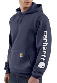 Carhartt Mens K288 Midweight Hooded Logo Sweatshirt - Navy | Buy Now at camouflage.ca