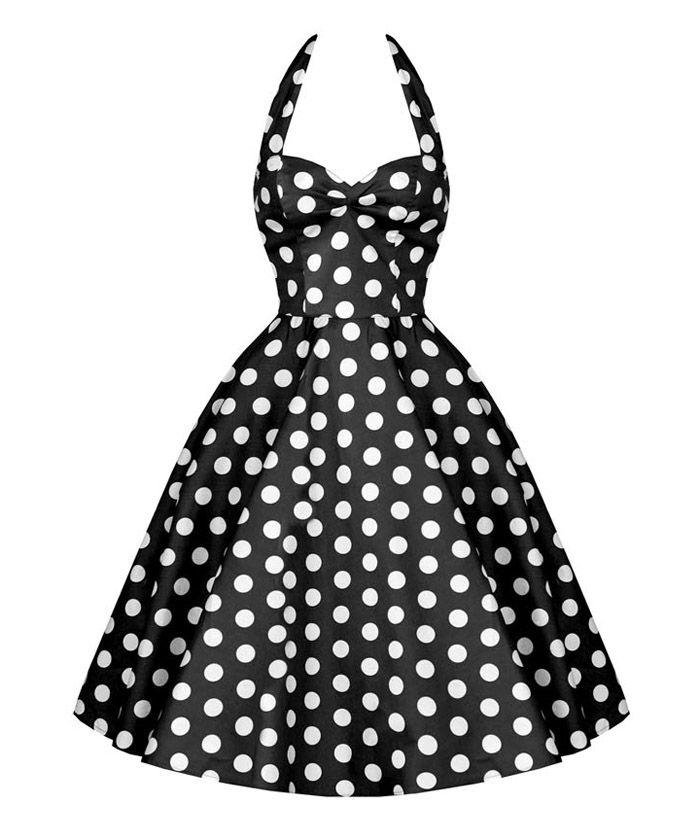 Vintage Halterneck Backless Polka Dot Print Ruffled Sleeveless Women's DressVintage Dresses | RoseGal.com