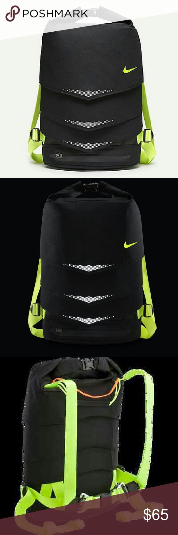 Nwt Nike MOG Bolt running backpack This is a new black with reflectors Nike MOG Bolt running backpack the dimensions are 24 in height 10 in width 7 in diameter Nike Bags Backpacks