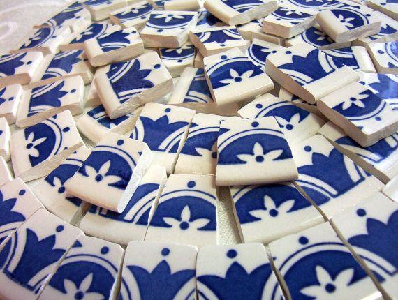 Broken China Mosaic Tiles Blue And White Modern Decor