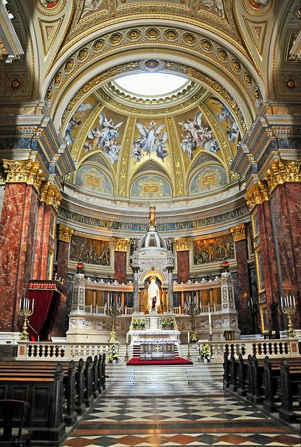 St. Stephen's Basilica is the largest church in Budapest. Construction by Miklós Ybl.