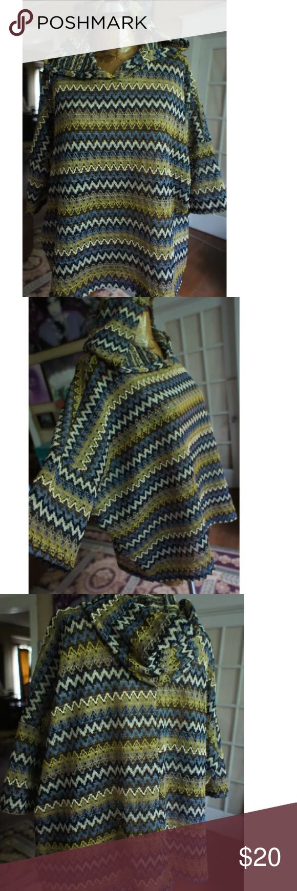 Boho chevron knit poncho hoodie XL Cute earthy festival poncho hoodie cute open knit with earthy colors boutique no tag  size XL boutique Tops Sweatshirts & Hoodies