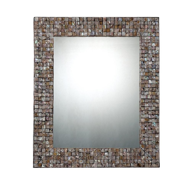 rectangular mirror in a pen shell mosaic frame product wall material wood shell tile and mirrored glasscolor silver and