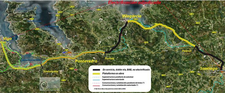 Estado del Eje ferroviario Atlántico de Alta Velocidad en Galicia, España, entre Santiago y Vigo
