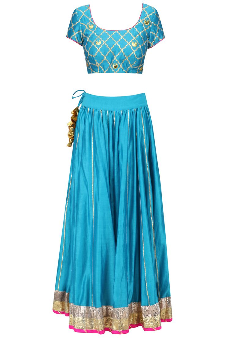 Teal blue gota patti jaal and chaand motifs lehenga set available only at Pernia's Pop Up Shop.