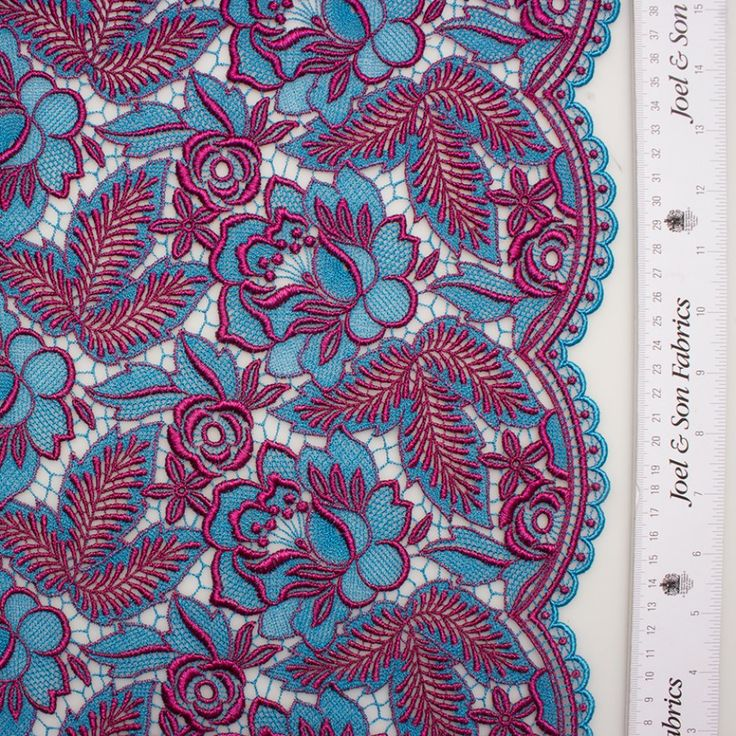 Designer Magenta & Blue Floral Guipure Lace (£259.90/metre) | Joel & Son Fabrics