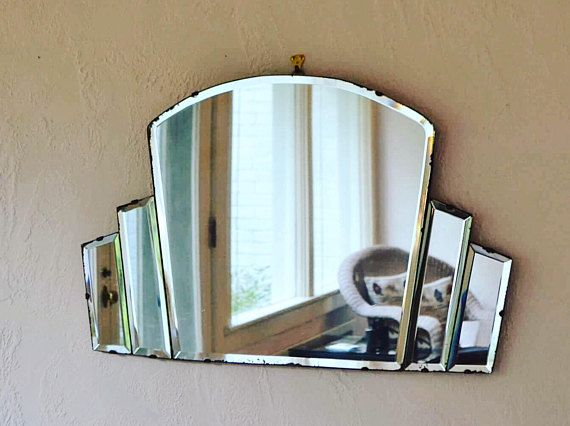 Art Deco mirror frameless mirror wall mirror fan shaped mirror antique mirror large mirror vanity mirror modern mirror entry way mirror farm