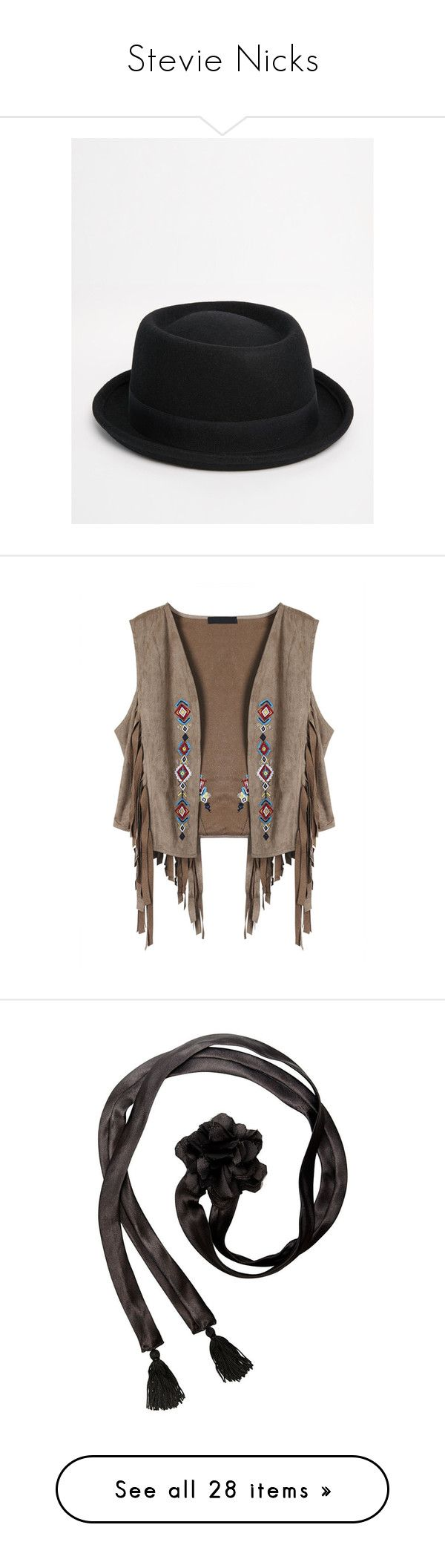 """""""Stevie Nicks"""" by nikka-phillips ❤ liked on Polyvore featuring men's fashion, men's accessories, men's hats, black, mens felt hat, outerwear, jackets, collar jacket, short-sleeve jackets and suede jacket"""