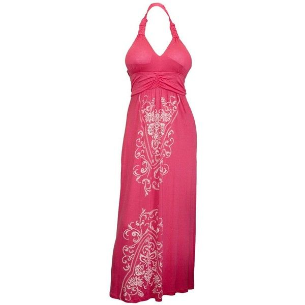 eVogues Plus Size Maxi Cocktail Cruise Halter Dress with Embroidery... ($30) ❤ liked on Polyvore featuring dresses, women plus size dresses, maxi dress, evening dresses, pink cocktail dress and cocktail dresses