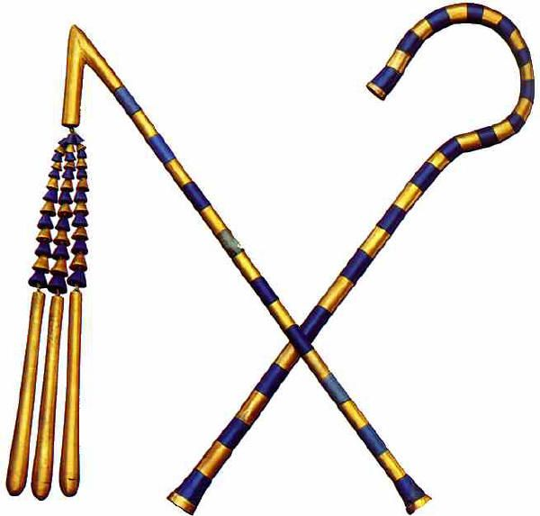 les sceptres - armature en bronze recouverte de cylindres en or en alternance avec des cylindres en pâte de verre bleue - le bouton terminal est ornéde cartouches