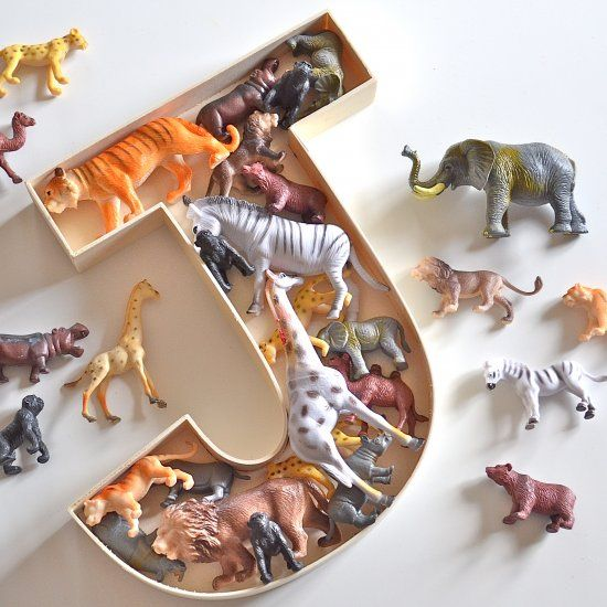 Wooden letters made fun with this toy filled decorative letter - also a great display/storage and gift idea for a nursery or childs bedroom!