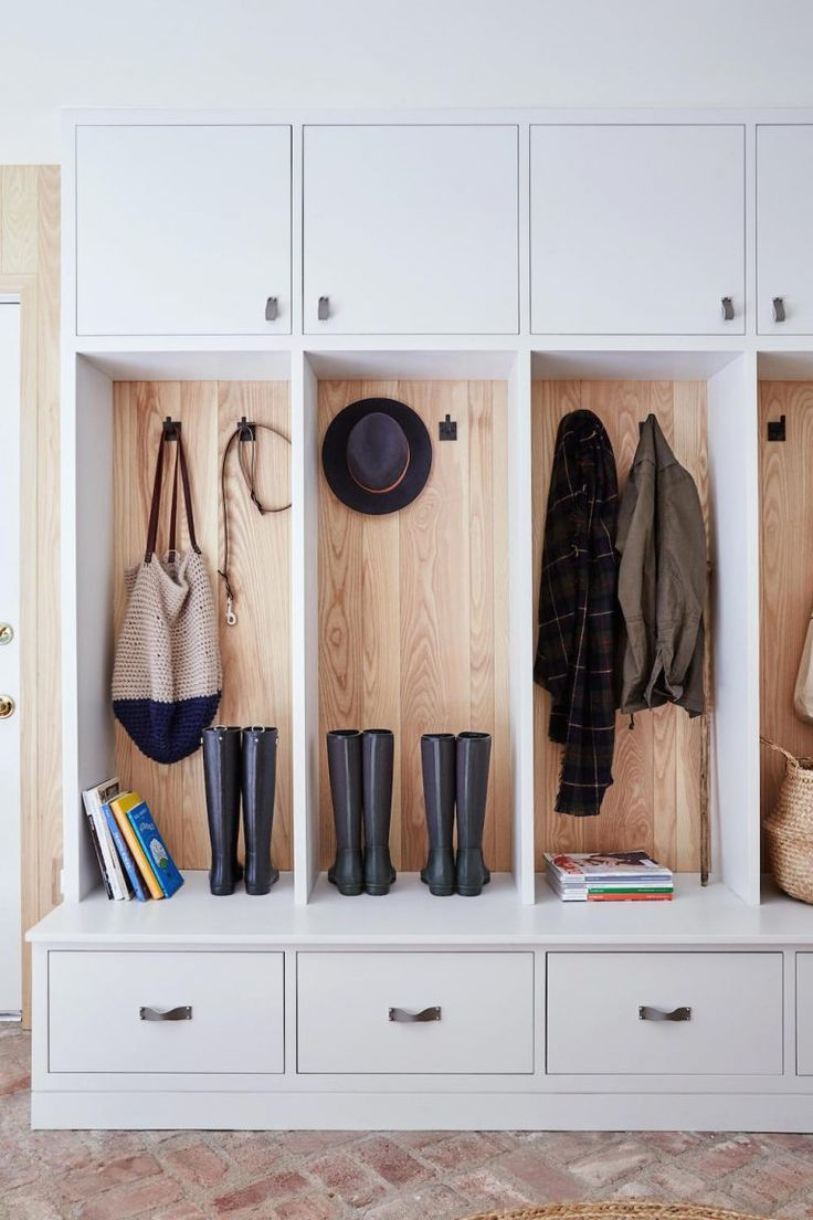 Simple wood backed mudroom storage | Barker Design