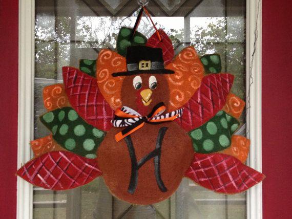 100 Custom Made to Order Burlap Turkey Door by BHoweryCreations & 21 best Wooden Door Hangers: THANKSGIVING images on Pinterest ... Pezcame.Com