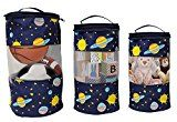 Earthwise Toy Storage Bags  Arranging Kids Toys Colorful Cute Exoplanets and Stars Print Set of a few Small Medium and Large Bag w/ Zipper Closure and Best Handle for easy carrying