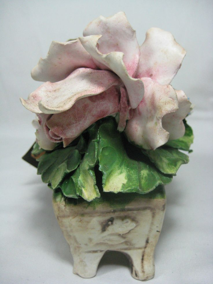 Nuova Capodimonte Porcelain Floral Bouquet Italy Flower Basket Damaged Leaves   eBay