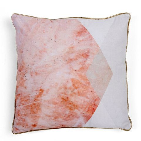 Pink & Grey Marble Hexagon Cushion
