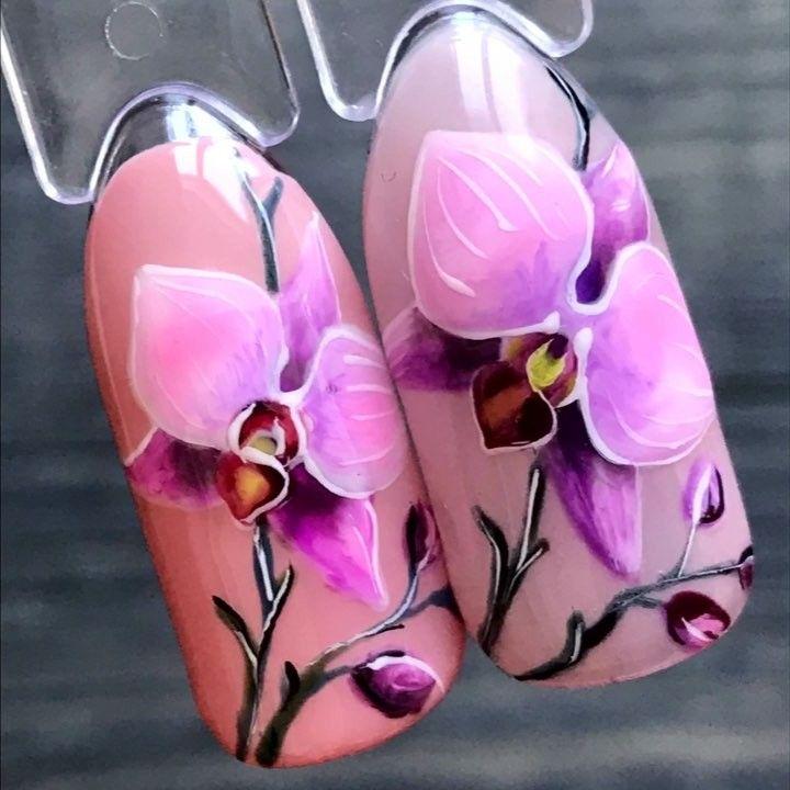Орхидеи на ногтях шеллаком фото пошагово выделили несколько