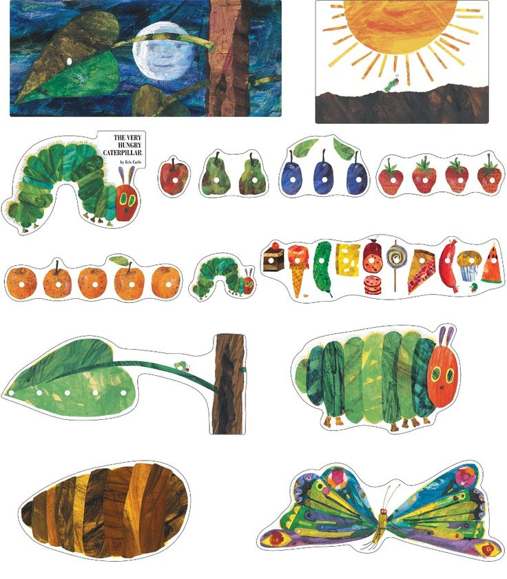 """This vibrant, beloved bulletin board set includes:  13 storytelling pieces (largest approx. 22.5"""" x 9.75"""") """"The Very Hungry Caterpillar™"""" header A resource guide  ™ & © 2009 Eric Carle LLC. Licensed by Chorion Rights Limited."""