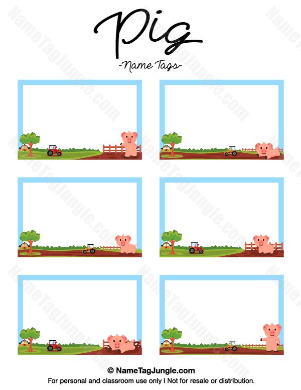 Free printable pig name tags. The template can also be used for creating items like labels and place cards. Download the PDF at http://nametagjungle.com/name-tag/pig/