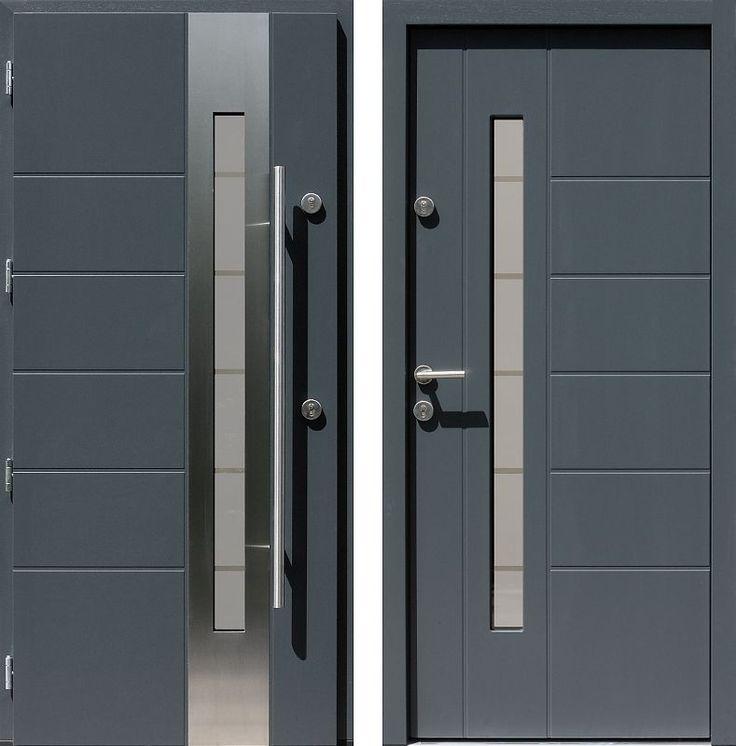 Drzwi wejściowe z aplikacjamii ze stali nierdzewnej inox wzór 475,4-475,14+ds11 antracyt