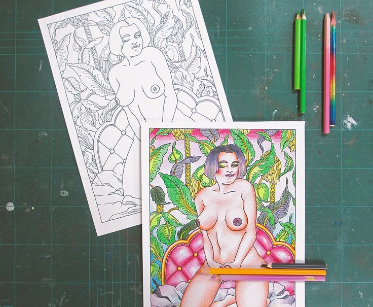 "Adults Coloring Book - ""Les Foufettes - Florence"" - Body Positive Pin Up Colouring Page Printable by TigerlilyDesignStore on Etsy"