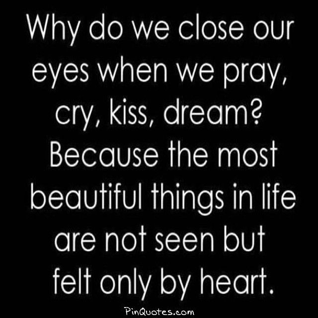 Because the most beautiful things in life are not seen but felt only by the heart