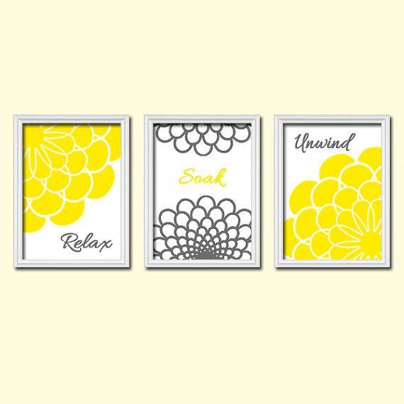 Colorful Yellow Grey Flourish Dahlia Bathroom Artwork By TrmDesign, $30.00