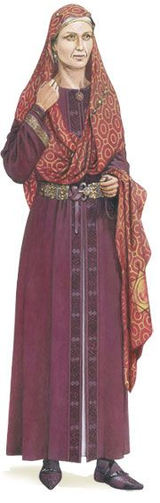"""Arnegunde"", 515-580 AD, Merovingian. What was being worn on the Continent, for comparison.(Anglo-Saxon)"