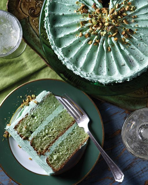 Pistachio Layer Cake with Pistachio Buttercream via Sweet Paul - cute for St. Patrick's Day!
