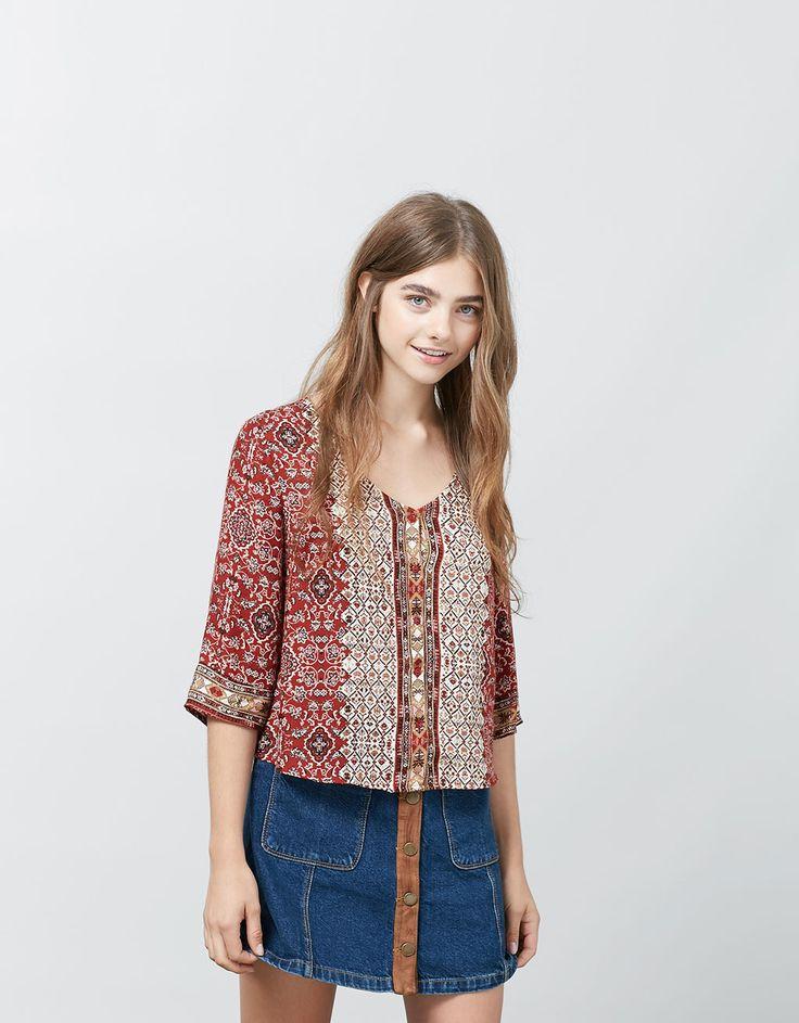 Blusa estampada manga ancha - BSK