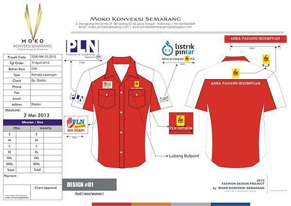 Jual Baju Seragam PLN Sipirok - Sumatera Utara - Indonesia. Koleksi Desain Kemeja PLN Warna Merah & Putih + Bordir Logo Perusahaan.