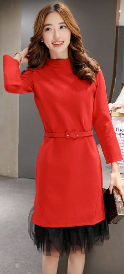 Elegant long sleeved dress, mandarin collar, chiffon underlay, dress with belt, dress with collar, mini elegant dresses, winter mini dresses, korean elegant dresses,