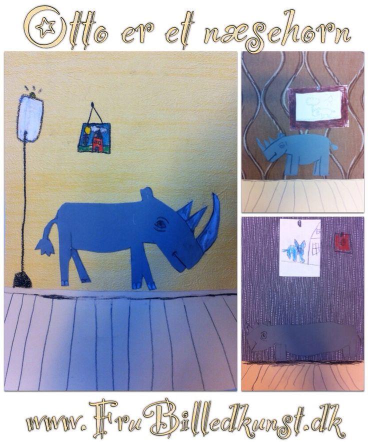 """Ole Lund Kirkeards bøger er altid et hit. 2.klasse har arbejdet med """"Otto er et næsehorn"""" - et simpelt og hurtigt billedkunstprojekt. Jeg har guidet dem gennem optegningen af næsehornet - her tegne..."""