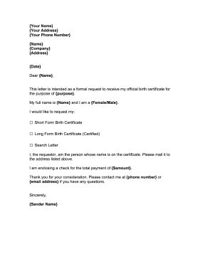 REQUEST FOR BIRTH CERTIFICATE.  Perfect for people who need official forms for traveling, genealogy or employment purposes, this free, printable notice requests birth certificates. Free to download and print