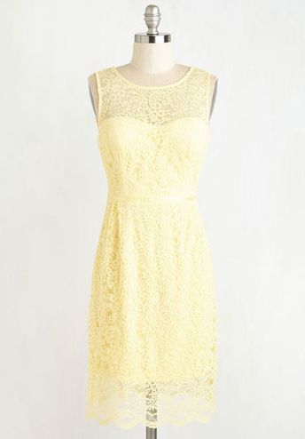 soft yellow lace dress found on ModCloth @cleverwedding