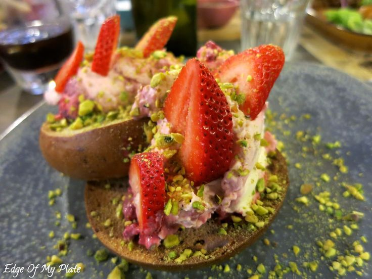 Edge Of My Plate: Bagels & Coffee At Manchester Press - Raspberry Mascarpone, Strawberries and Pistachio