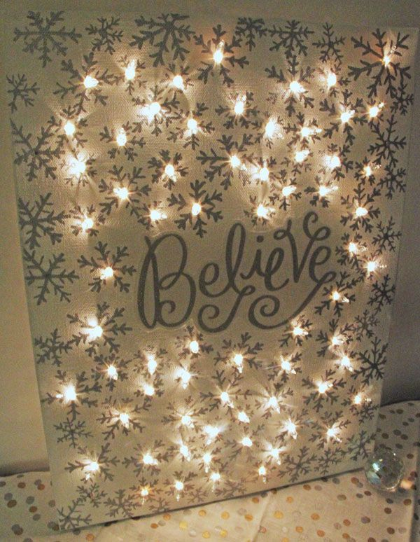 How to make a lighted snowflake Christmas canvas | www.rhapsodyinrooms.com