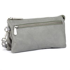 Lækker grå lille taske med skulderstrop og bærestrop fra Depeche i ægte skind