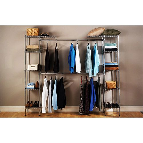 Seville Classics Expandable Closet Organizer, Chrome $94.97 at Walmart  Great for rentals where you don't want to install a closet system permanently but need something better than what's in there. It's shallow enough that it can go inside a bi-fold door closet but it is free standing!
