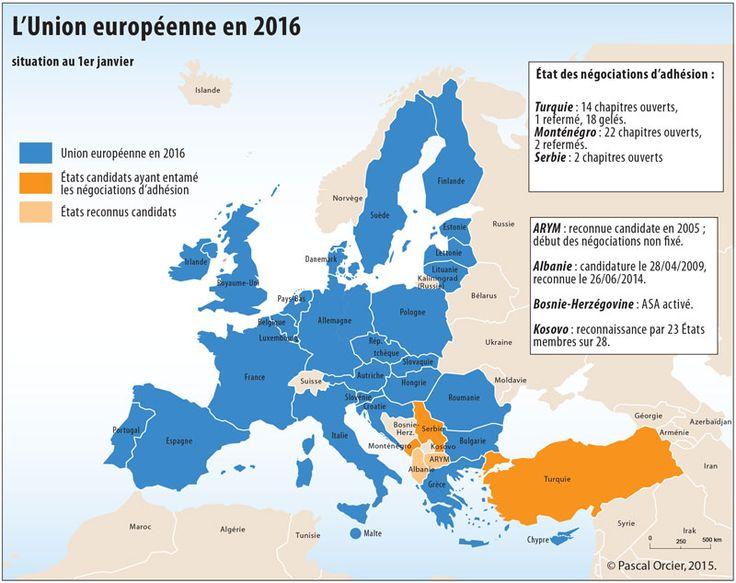 L'Europe entre associations, alliances et partenariats. L'état de l'Union européenne, de la zone euro, de l'espace Schengen et de l'Otan au 1er juillet 2016 — Géoconfluences