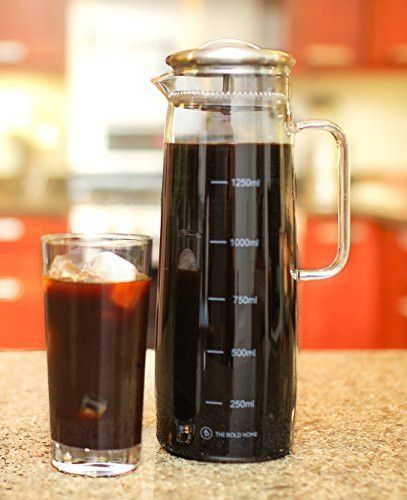 BOZ Cold Brew Iced Coffee Maker 1 Quart Glass Pitcher Built in Swap Coffee Fi
